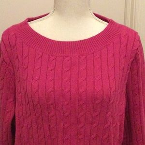 Talbots Pink Cable Spring Sweater 2x NWOT